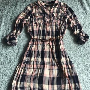 Pink & Navy Plaid Dress
